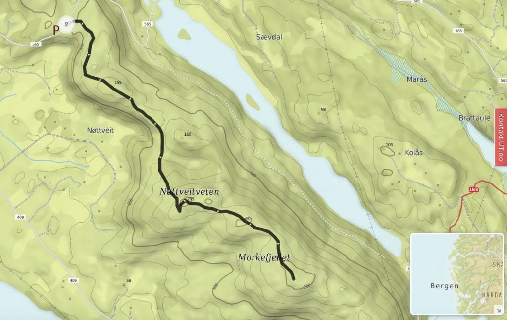 Kart over turløype fra Solenfjellet - Nøttveitveten - Morkenfjellet ca 2timer t/r.