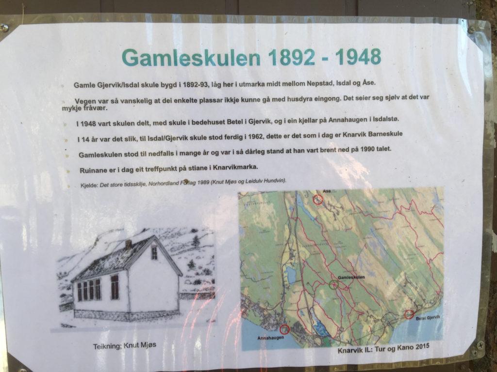 Info skilt ved Gamleskulen. Foto av Tormod Gundersen