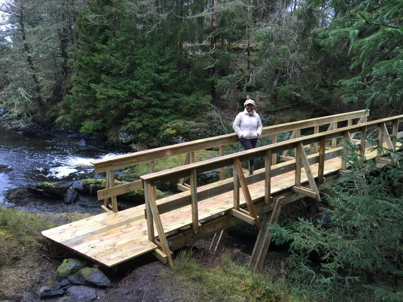Den største gangbroen er et flott byggverk og gjør det enkelt å ferdes over viken.