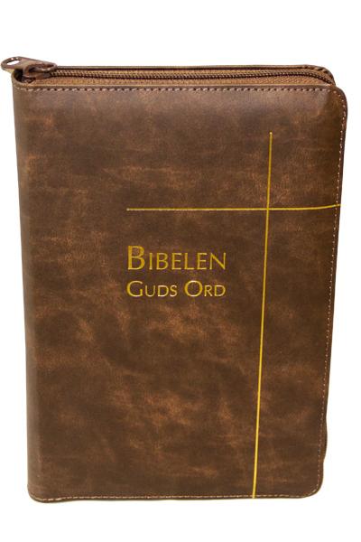 Biblen Guds Ord 2017 stor brun reg glidelås